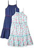 Spotted Zebra Girls' Woven Sleeveless Tiered Dresses, 2-Pack Watermelons/Navy Multi-Dots, X-Large