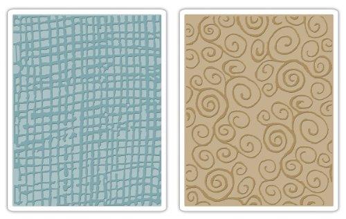Sizzix Texture Fades Embossing Ordner 2PK –, Jute, Swirls von Tim Holtz