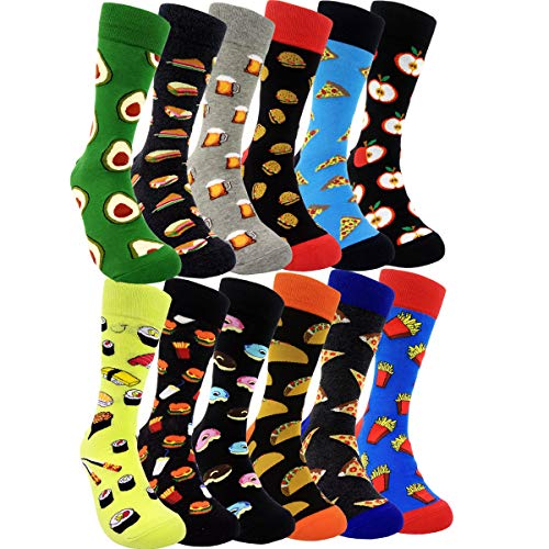 HSELL Mens Fun Food Dress Socks - Funny Foodie Sushi Cheese Taco Burritos Patterned Crazy Design...