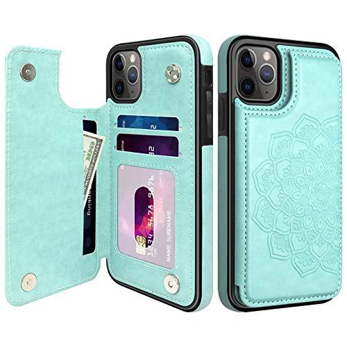 MMHUO Schutzhülle für iPhone 11 Pro mit Kartenhalter, Blume Magnetische Rückseite Flip Hülle für iPhone 11 Pro Hülle für Frauen, Schutzhülle Handyhülle für iPhone 11 Pro, Mintgrün
