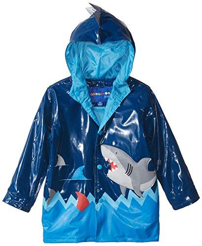 Wippette Boys' Toddler Shiny Shark Rain Jacket, Navy, 2T