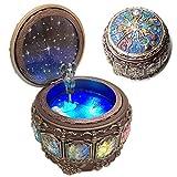 amperer vintage music box with constellations rotating goddess led lights twinkling resin carved