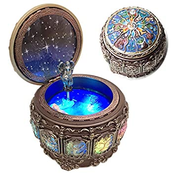 Amperer Vintage Music Box with Constellations Rotating Goddess LED Lights Twinkling Resin Carved Mechanism Musical Box with Sankyo 18-Note Wind Up Signs of The Zodiac Gift for Birthday  Upgraded