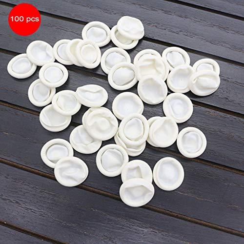 Heaviesk Latex Cunas para dedos antiestáticas 100PCS / SET Duraderas Látex antiestáticas naturales para dedos Diseño práctico Desechables Maquillaje Guantes de extensión de cejas Herramientas