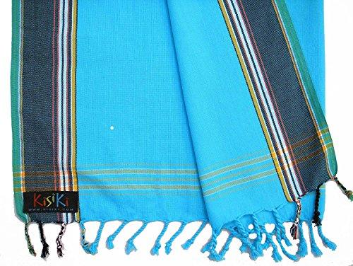 KISIKI-100% Baumwolle Kikoy Pareo Tuch/Sarong–Zubehör der Reisen und Urlaub Gr. Einheitsgröße, Turquoise with a dark blue border