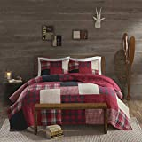Woolrich 100% Cotton Quilt Reversible Plaid Cabin Lifestyle Design All Season, Breathable Coverlet Bedspread Bedding Set, Matching Shams, Full/Queen(92'x96'), Sunset, Red, 3 Piece