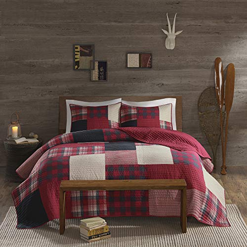 Woolrich 100% Cotton Quilt Reversible Plaid Cabin Lifestyle Design All Season, Breathable Coverlet Bedspread Bedding Set, Matching Shams, King/Cal King(110'x96'), Sunset, Red, 3 Piece