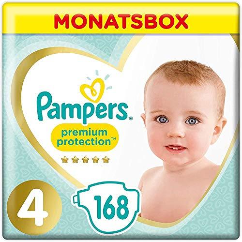 Pampers Größe 4 Premium Protection Baby Windeln, 168 Stück, MONATSBOX, Weichster Komfort Und Schutz (9-14kg)