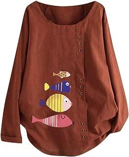 aihihe Womens Plus Size Tops Crew Neck Long Sleeve Floral Print Button Down Cotton Linen T-Shirt Casual Blouse