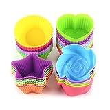 Avana - Moldes reutilizables para magdalenas de silicona de alta calidad, respetuosos con el medio ambiente, 8 colores, 36 unidades