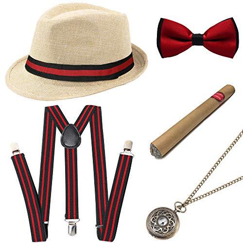 Coucoland 1920s Herren Accessoires Mafia Gatsby Kostüm Set inklusive Panama Gangster Hut Verstellbar Elastisch Hosenträger Herren Halsschleife Fliege Taschenuhr und Plastik Zigarre (Beige - Stil 2)