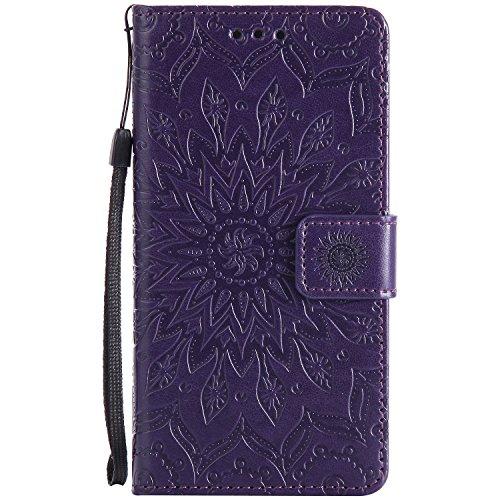 Tiga Shopping Funda Sony Xperia Z5 Flip PU Cuero Caso Sol Patrón en Relieve/Stent/Billetera/con el Sostenedor de Tarjeta/Proteccion Caso Cubrir para Sony Xperia Z5(Púrpura)