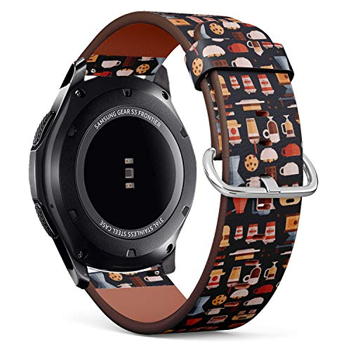 Art-Strap Kompatibel mit Samsung Gear S3 Frontier/Classic - Leder-Armband Uhrenarmband Ersatzarmbänder mit Schnellverschluss (Kaffee-Kaffeemaschinen-Kaffeetassen)