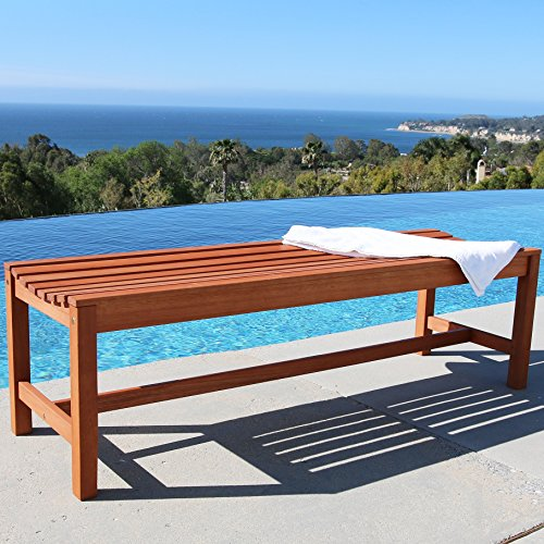 Vifah V025-1 Baltic Wooden Backless Garden Bench, 5-Foot, Red Brown