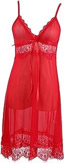 IngerT Women's Sexy Nightwear Lingerie Set Lace Babydoll Sleepwear Transparent Pajama Nighty Short Nightdress for Female