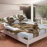 Juego de sábanas de perezoso para niños, hojas tropicales, sábanas de cama para niños, niñas, dibujos animados y perezosos, juego de cama de palma, para dormitorio, 2 piezas, tamaño individual