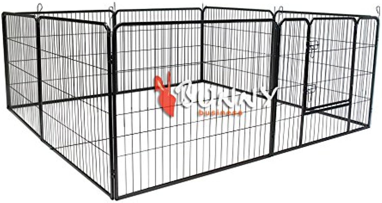 BUNNY BUSINESS Heavy Duty 8 Panel Puppy Play Pen  Rabbit Enclosure, Large, Gunmetal Grey