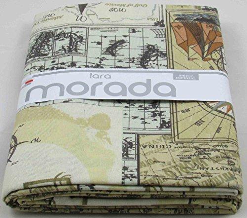 LARA MORADA Telo ARREDO Gran FOULAR COPRITUTTO in Tessuto LONETA Art Imperial Disegno Mappa (Panna)