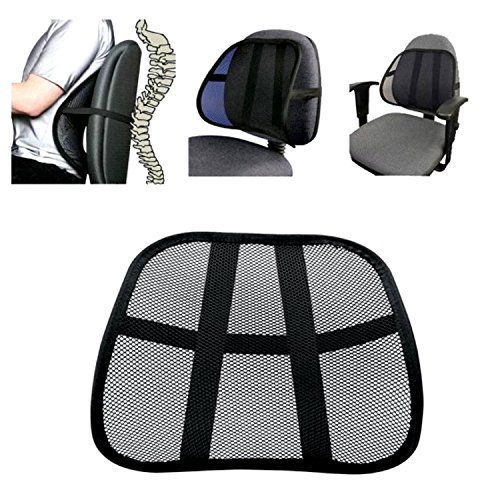 Multiuse Cool Vent Mesh Back Lumber Support Massage Back Mesh Lumbar Support Cushion Relieve Back Pain Waist Support Pad Mat Office Chair Car Seat and more Easily Attaches to Any Chair