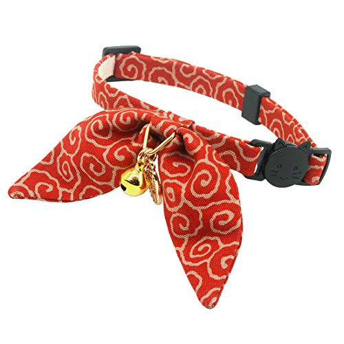 PetSoKoo Unique Bunny Ears Bowtie Cat Collar, Ancient Arabesque Print, Japan Traditional Lucky...