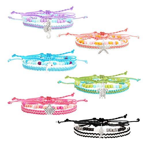 18 PCS VSCO Bracelets for Teen Girls, Kids Friendship Bracelets for Girls, Party Favors for Teens Girls with Sealife Charms,Braided Friendship Bracelets and Stretch Beaded Bracelets