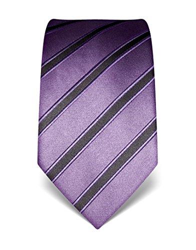 Vincenzo Boretti Herren Krawatte aus reiner Seide, gestreift, in vielen Farben,lila