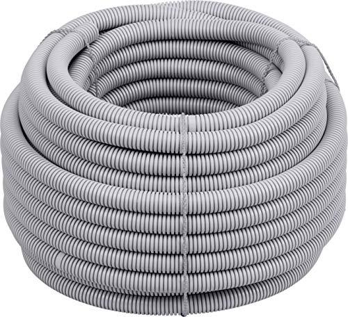 Meister Isolierrohr flexible Ausführung - 25 Meter - lichtgrau - 320 N (leicht) - M20 Gewinde - Flammwidrig - Geeignet für Unterputz & Hohlwände / Wellrohr / Leerrohr / Schutzrohr / 7480590