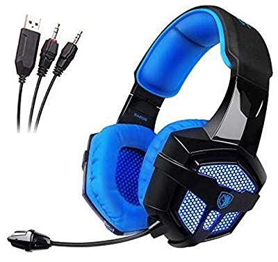 YANNI Gaming Headset, SADES SA806 3.5mm Wired Computer Over Ear Stereo Headphones for PC/PS4/Smart Phone/iPad(Black Blue)