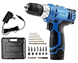 Cordless Power Drill, 3/8', 12V Lithium, Includes Driver Set and Project Kit