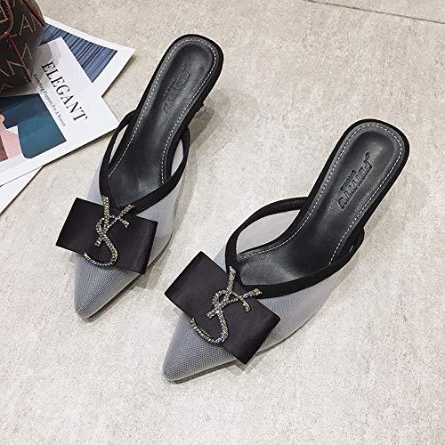 COQUI Slippers Mujer casa,Sandalias de tacón Alto y Zapatillas para Ropa Exterior de Mujer Verano Sexy Stiletto Lazy Baotou Half Drag Zapatos Casuales-Gris_37