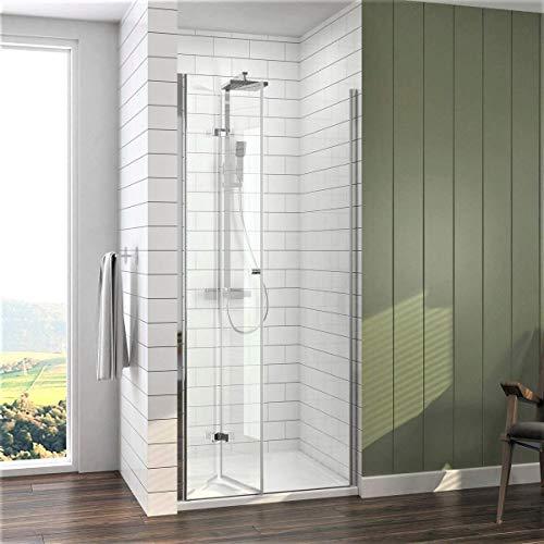 Meykoe Duschtür 76x185cm Duschkabine Nischentür Duschwand Glas, Duschabtrennung Nische mit Falttür, Duschtrennwand Faltwand aus 6mm ESG Sicherheitsglas ohne Duschtasse