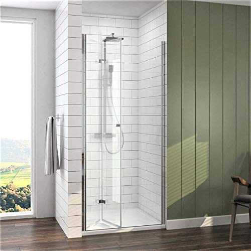 Meykoe Duschtür 90x185cm Duschkabine Nischentür Duschwand Glas, Duschabtrennung Nische mit Falttür, Duschtrennwand Faltwand aus 6mm ESG Sicherheitsglas ohne Duschtasse