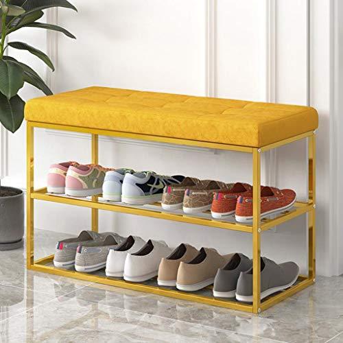 M-YN Zapatero Shoe Rack Banco de Metal de 2 Niveles for Armario Organizador Caja de Almacenamiento Armario Armario Soporte for Estante con Asiento y cojín (Color : Yellow)