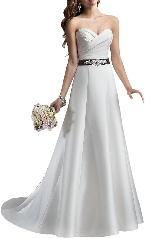 Avril Dress Sweetheart Aline Wedding Dress With Chapel Train Bowknot Sash