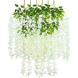 COOWAS 6 Pack 3.67 Feet Artificial Fake Wisteria Vine Ratta Hanging Garland Plants Silk Flowers for Wedding Party Outdoor Garden Office Home Kitchen Wall Decor White