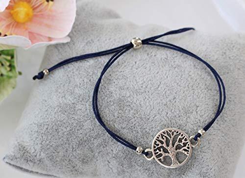 Armband Lebensbaum silber farben, Macramee Band viele Farben erhältlich, Baum des Lebens, Tree of life, Geschenk