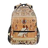 QMIN Mochila tribal étnico antiguo Egipto para la escuela, viajes, universidad, portátil, con cremallera, para senderismo, camping, bolsa de hombro, organizador para niños, niñas, mujeres, hombres
