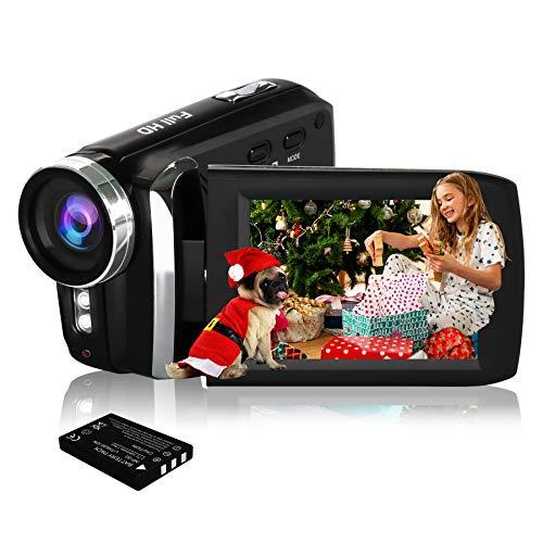 HG5250 Videocámara Digital FHD 1080P 12MP 270 Grados con Pantalla giratoria Cámara de Video para niños/Principiantes/Ancianos