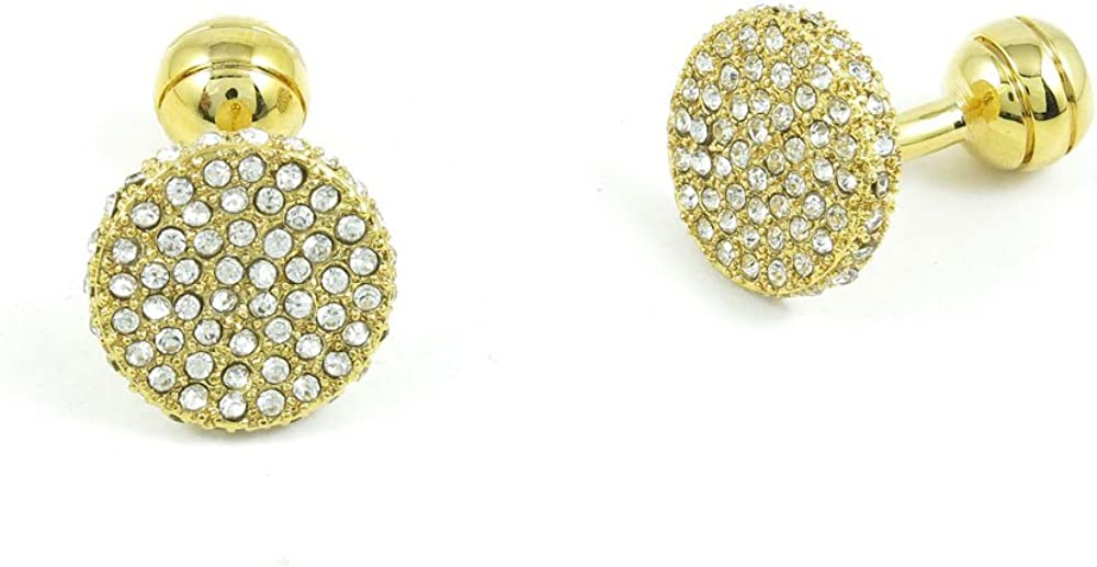 Cufflinks Cuff Links Fashion Mens Boys Jewelry Wedding Party Favors Gift FZJ078 Zircon Golden Round