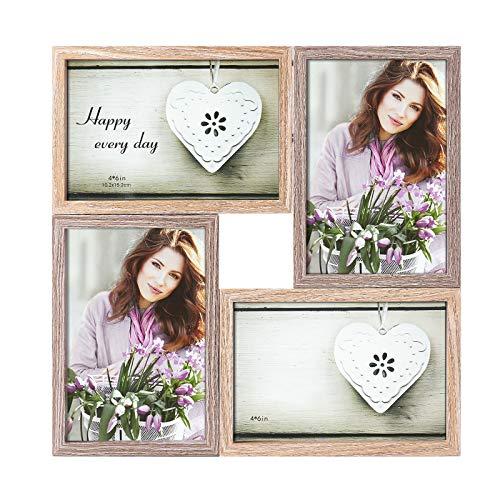 Makitesy 4 Cornice per Foto Quattro Cornici Fotografiche in Legno Imitazione Apertura (10x15 CM) Cornice di Protezione Ambientale, Cornice Multipla da Appoggio o da Parete (Naturale)