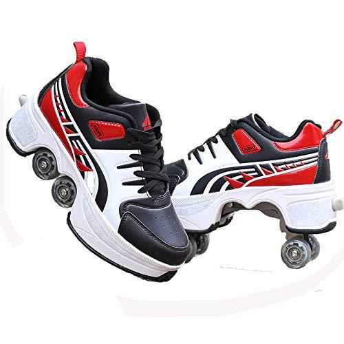 H&Y Schlittschuhe Riemenscheiben Schuhe Multifunktionale Verformung Rollschuh Quadfahren, Inline-Schlittschuhe, 2-in-1-Rollschuhe Outdoor-Sport Für Erwachsene Kind,K-37