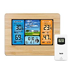 Digital Weather Station with Wireless Sensor Weather Monitoring Clocks, Multifunction Weather Forecast Watch Wall Desk Alarm Clock with temperature and Humidity ,Moon Phase, USB charging port,Wooden
