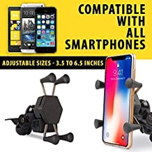 Autofy A-12 X-Grip Bike Mobile Charger & Phone Holder Bike Mobile Holder Version 2 for All Bikes Scooters (5V-2A Black)