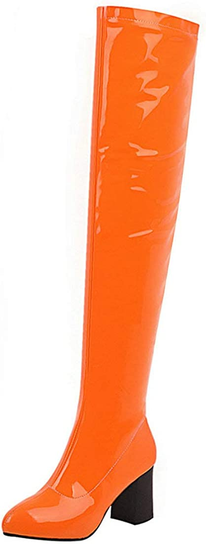 LUXMAX New product type Womens Stretchy Over Knee High Thigh Patent Stack Leather Limited price