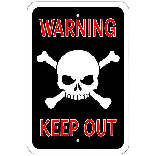 Warnschild Totenkopf gekreuzten
