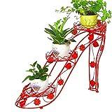 Dongbin Fleur Support de Porte en métal vélo Planteur Plante décorative en Fer forgé dans Le Jardin, terrasse, Patio ou kiosque à Fleurs d'intérieur, créatif Hauts Talons,Rouge