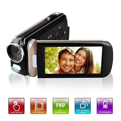 Video Camera Camcorder,Touch Monitor Mini Compact YouTube Vlogging Camera Recorder Full HD...