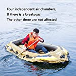 Kayak Series, 3 Person Kayak, Inflatable Kayak Set with Oars and High Output Air Pump (Blue) 90.5 ✕ 51 ✕14 in,Deluxe… 14 High-quality materials: the hull adopts tough SUPER-TOUGH (PVC)Made of polymer materials, thickened and wear-resistant greatly improves the pressure resistance of the air chamber, It is comfortable to ride and use Four independent airbags: if one is damaged, the other three are not affected,4-5 Boston valves on main hull chamber for quick-fills and fast-deflations. air chamber are separate from each other. reducing the risk of accident s in use. Nimble, durable: kayak is made of durable welded material with eye catching graphics for added safety on the lake or slow moving river