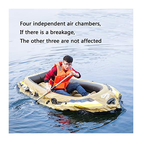 Kayak Series, 3 Person Kayak, Inflatable Kayak Set with Oars and High Output Air Pump (Blue) 90.5 ✕ 51 ✕14 in,Deluxe… 6 High-quality materials: the hull adopts tough SUPER-TOUGH (PVC)Made of polymer materials, thickened and wear-resistant greatly improves the pressure resistance of the air chamber, It is comfortable to ride and use Four independent airbags: if one is damaged, the other three are not affected,4-5 Boston valves on main hull chamber for quick-fills and fast-deflations. air chamber are separate from each other. reducing the risk of accident s in use. Nimble, durable: kayak is made of durable welded material with eye catching graphics for added safety on the lake or slow moving river