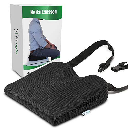 sit right Cojín en forma de cuña, para una mejor postura, ideal como cómodo cojín de silla, elevador de asiento para coche, oficina, silla de ruedas, extra grande, negro, hasta 65 kg de peso corporal.